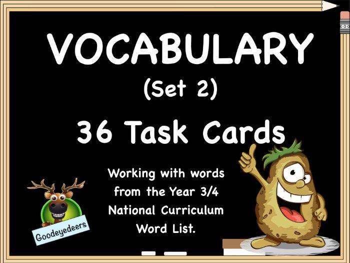 Vocabulary Challenge Cards - Year 3/4 Word List  (Set 2)