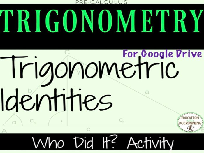 Trigonometric Identities Whodunit Digital Activity for 1:1 Classrooms