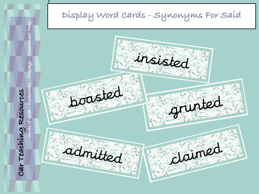 Synonym For Said Word Cards - Green Leaves