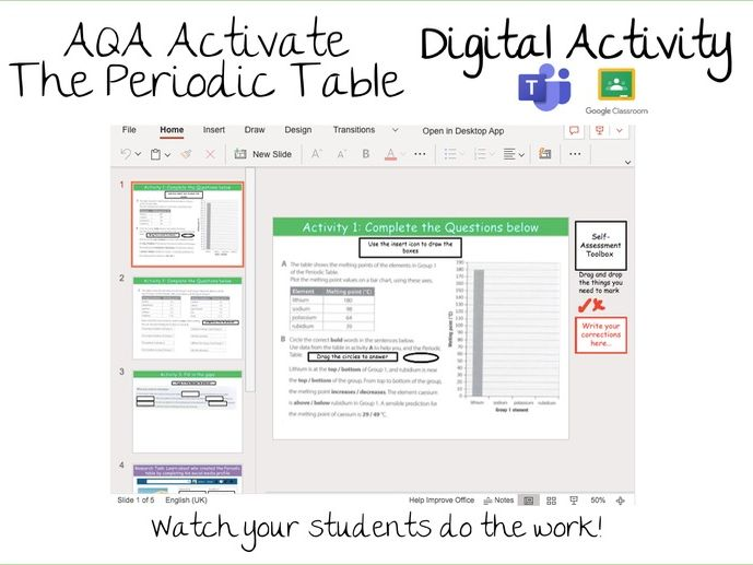 5.4.1 The Periodic Table  Activate Digital Activity- Google Classroom / Microsoft Teams Assignments