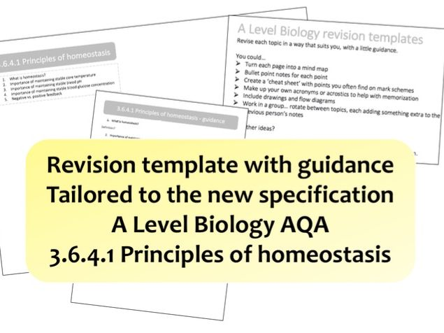 3.6.4.1 Principles of homeostasis | NEW A Level Biology revision template with guidance | AQA