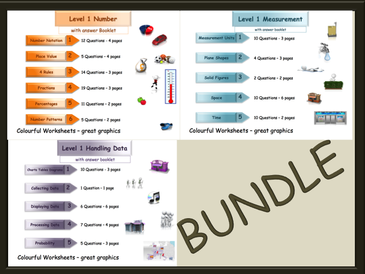 BUNDLE - Level 1-Three Workbooks-Number-Measures-Handling Data (with answers)