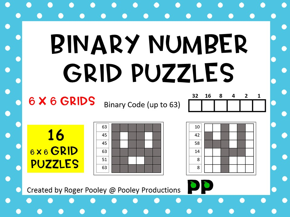 Binary Number Grid Puzzles - 6 x 6 grids
