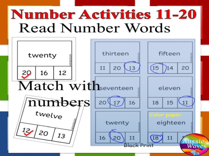 Printable Kinder Maths Centre Activity COUNTING NUMBERS 11-20 Matching with WORDS