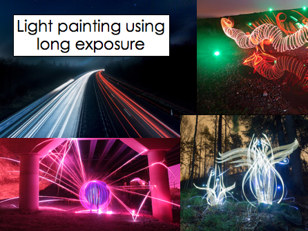 Light painting using long exposure