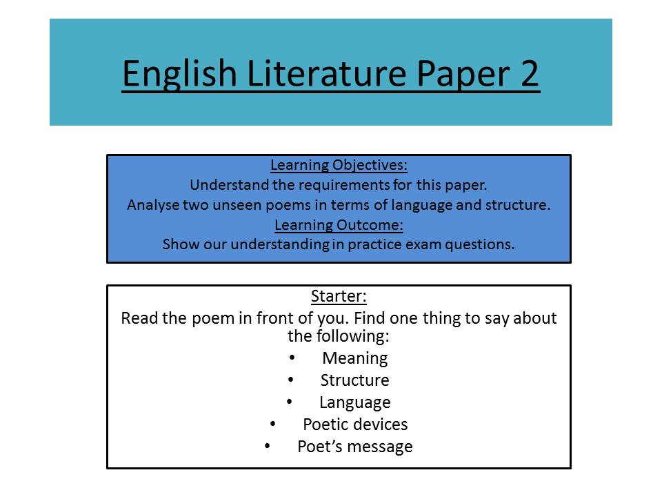 aqa english literature paper 2 unseen poetry practice by