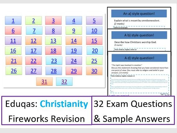 FIREWORKS: Eduqas Christianity: Exam Question Game