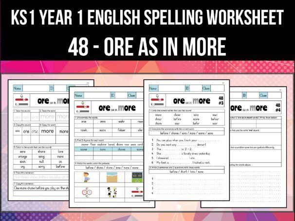 Spelling & Phonics Worksheet - ɔː sound spelled ORE