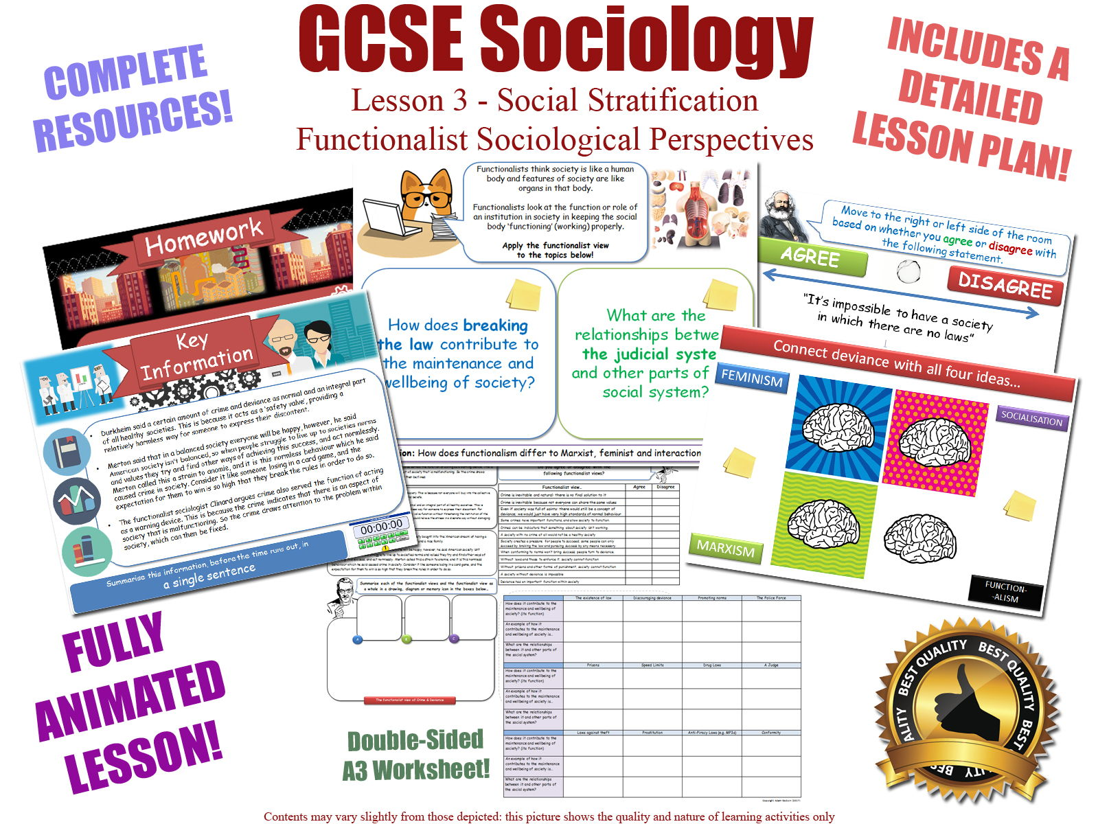GCSE Sociology - Functionalist Perspectives Bundle (AQA) 4 x Complete lessons