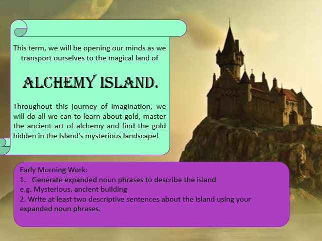 Year 5 PowerPoint based on Cornerstones 'Alchemy Island' lessons