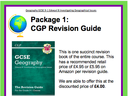 Posters to promote revision guides at parents evenings - Geography Edexcel B