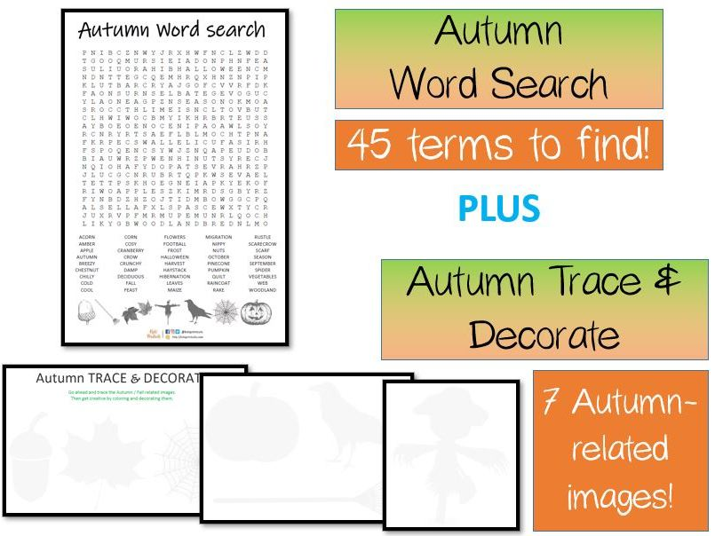 Autumn word search puzzle AND Trace and Decorate activity