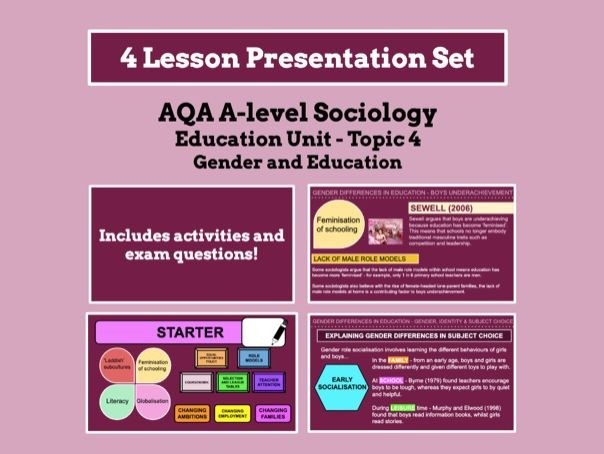 Gender and Education - AQA A-level Sociology - Education Unit - Topic 4