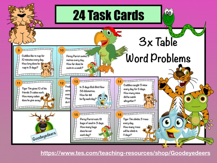 Three Times Table Word Problems - Task Cards