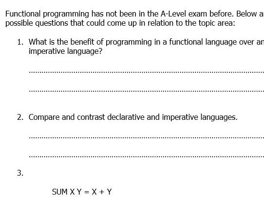 Functional Programming (A-Level Computer Science)