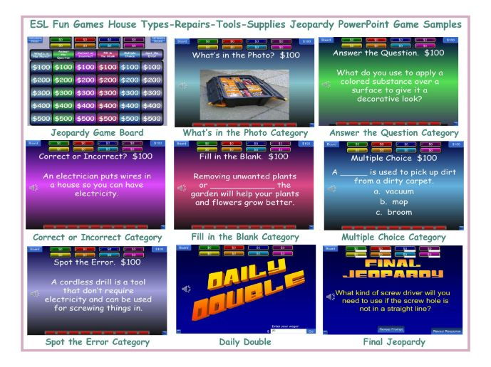 House Types-Repairs-Tools-Supplies Jeopardy PowerPoint Game