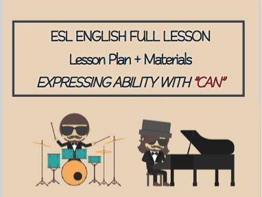 """ESL English Full Lesson: Expressing ability with """"CAN"""" LEVEL: Elementary"""