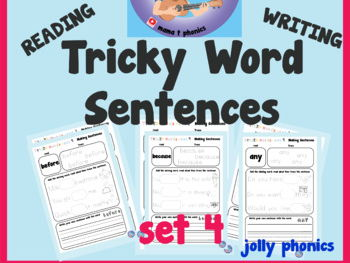 Set 4: Tricky word sentence writing and reading | HFW | Jolly Phonics