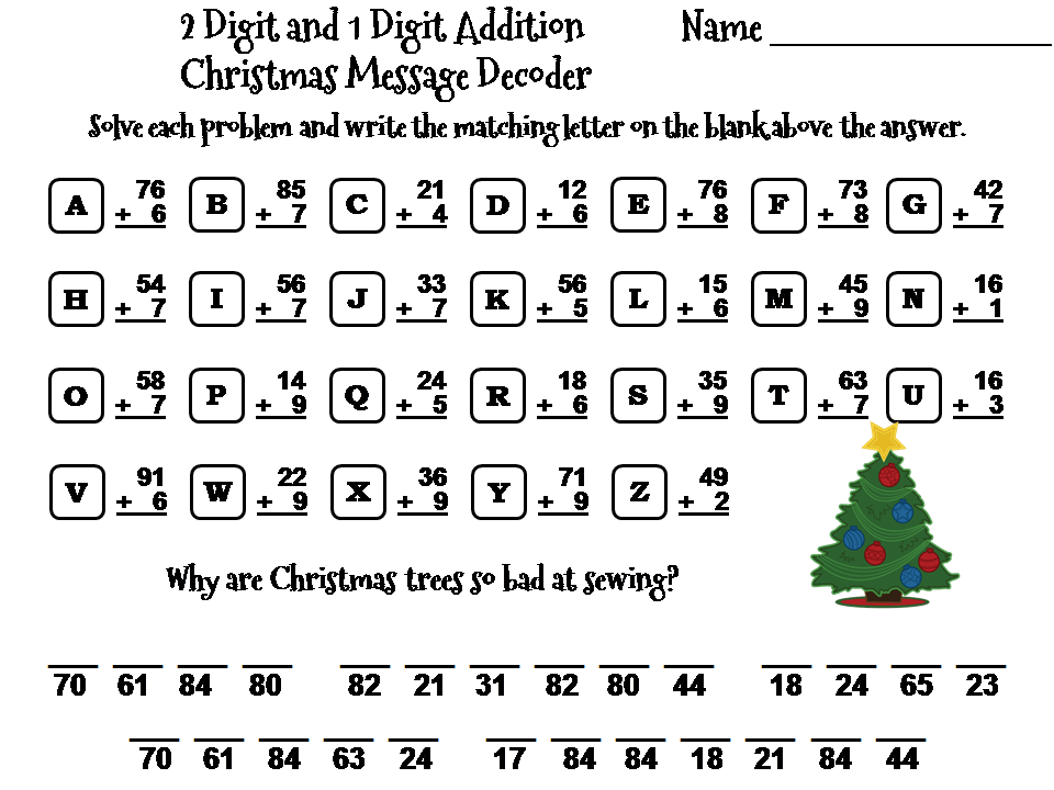 Christmas Math.Two Digit And One Digit Addition Game Christmas Math Message Decoder