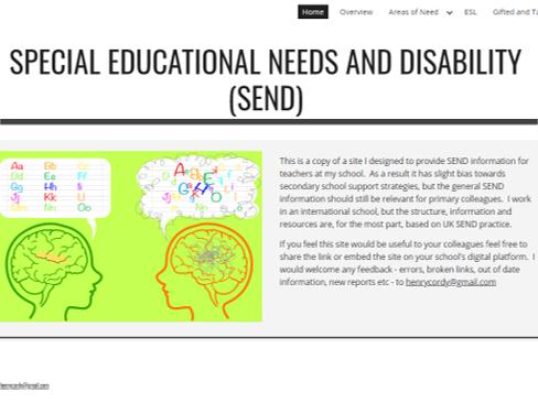 Special educational needs & disability website (SEND) - Staff Training