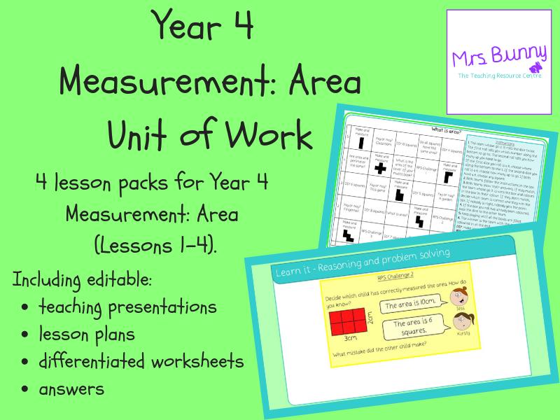 Year 4 Measurement: Area Unit Pack