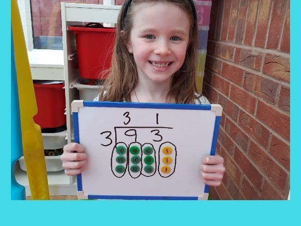 Short division / bus stop division with place value counters