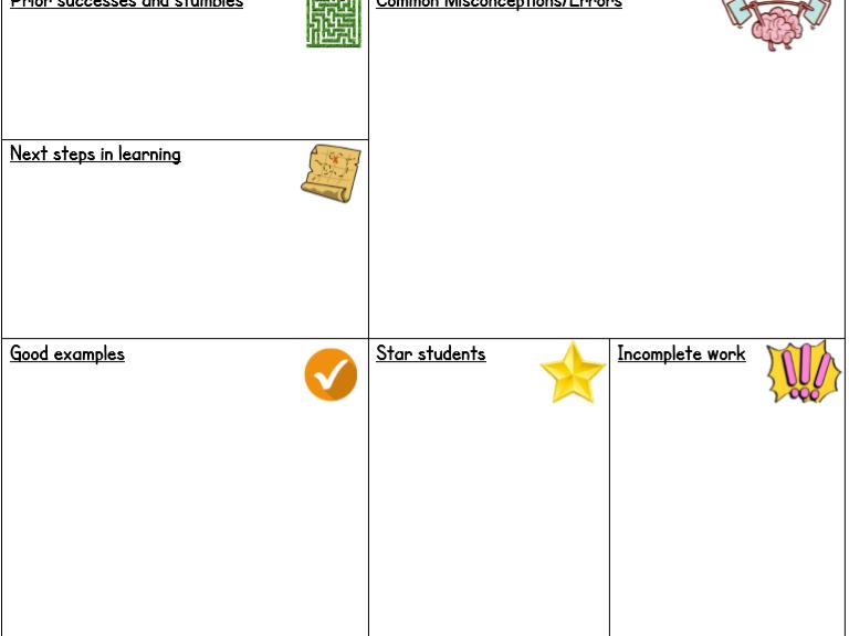 Marking Feedback Sheet - Effective Planning