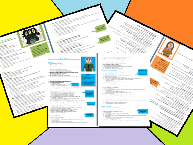 Banquo, Macduff and The Witches Character Grade 9 Revision Guide (13 pages)