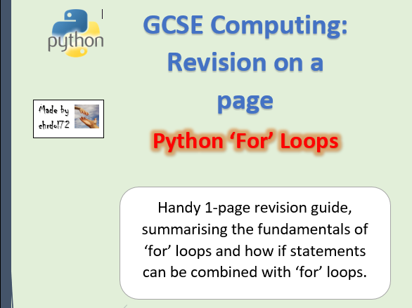 GCSE Computing: Loops - Revision on a page