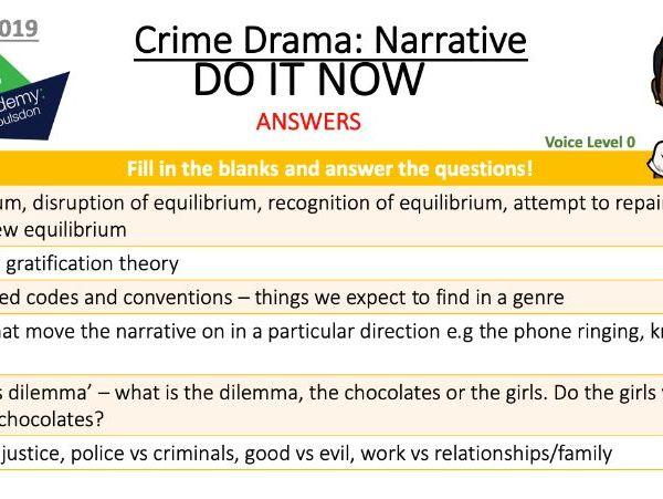 GCSE Media Studies 'Do It Now' Activities (Starters) Eduqas