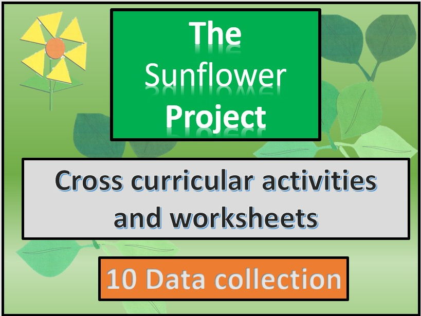 The sunflower project .Data collection. Worksheets for data collection.Section 10  Spring to autumn