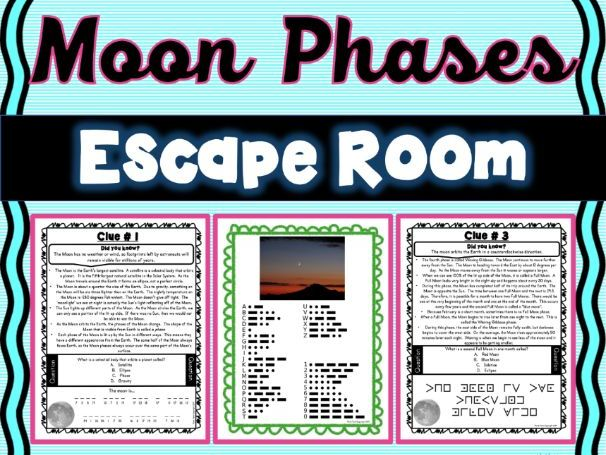 Phases of the Moon ESCAPE ROOM! - Earth Science - NO PREP, PRINT & GO!