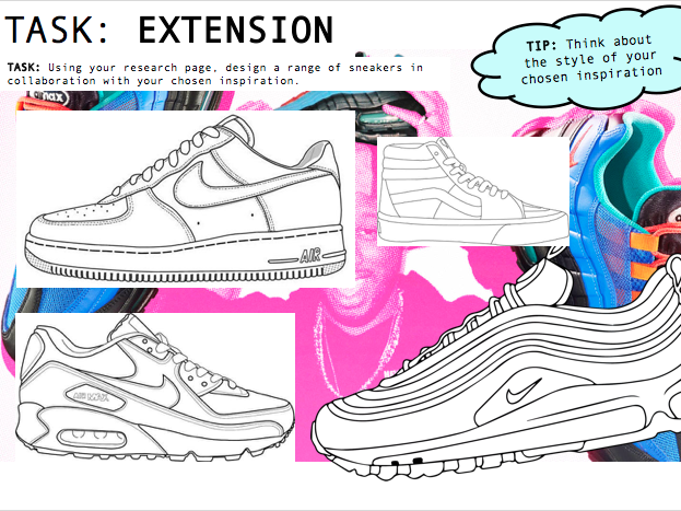 Art / Design Worksheets - TRAINER DESIGN - EXTENSION