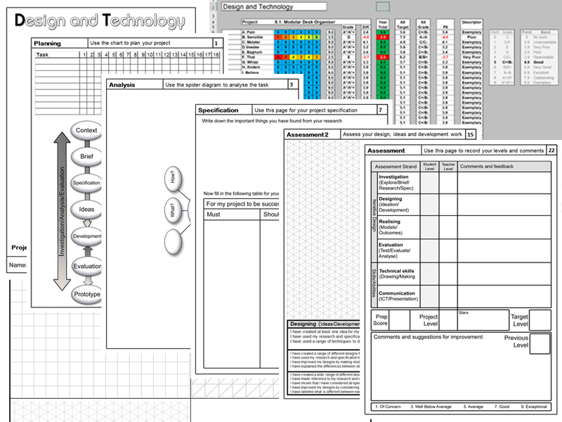 KS3 Design BookletTemplate and Tracking Spreadsheet