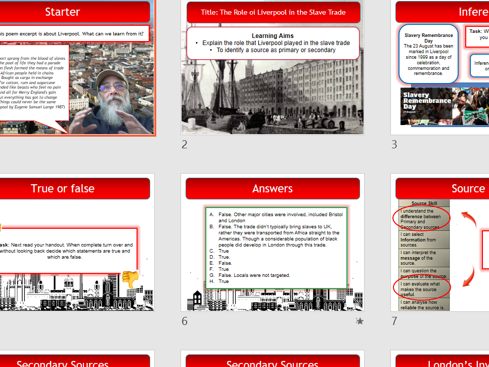 The Role oi Liverpool in the Slave Trade - key stage 3  - fits with Pearson's progression