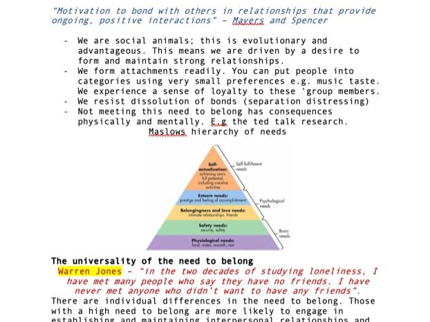 BSc Psychology Notes - Psychology of attractiveness 'The need to belong'