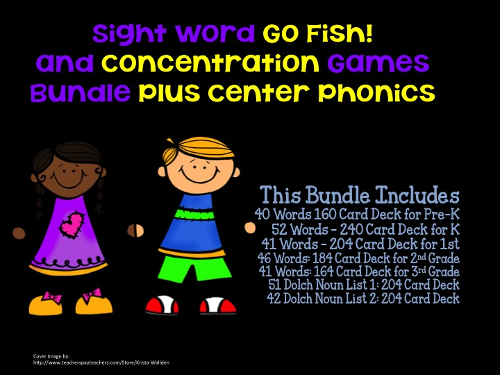 ALL Go Fish! Concentration Sight Word CCSS Bundle Plus Word Families