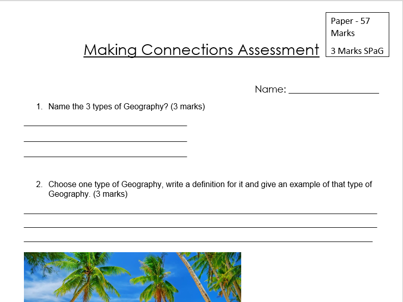 Making Connections Assessment and Mark Scheme - Standard and SEN version