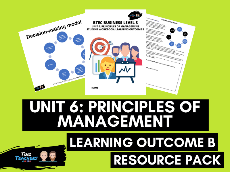 BTEC Business Unit 6: Principles of Management Learning Aim B Resource Pack