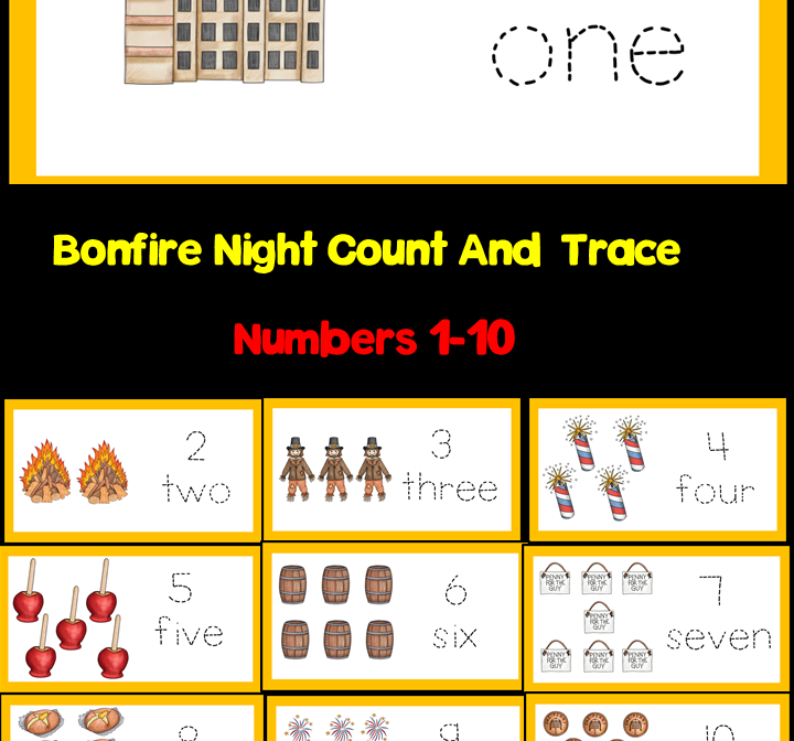 Bonfire Night Count And Write Numbers 1-10