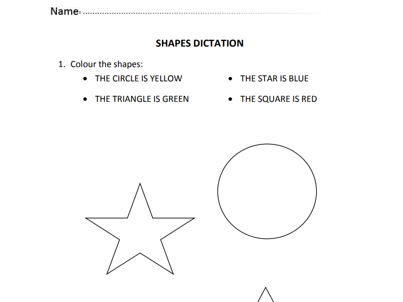 Shapes Dictation for Nursery and Reception Students