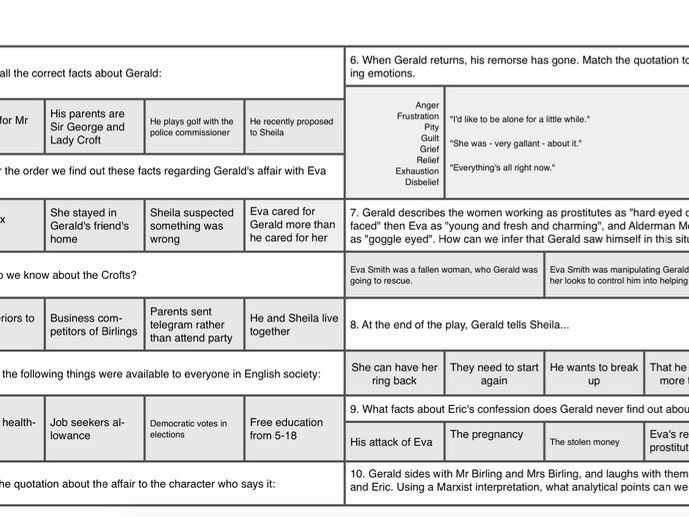 Quiz on the character of Gerald in An Inspector Calls