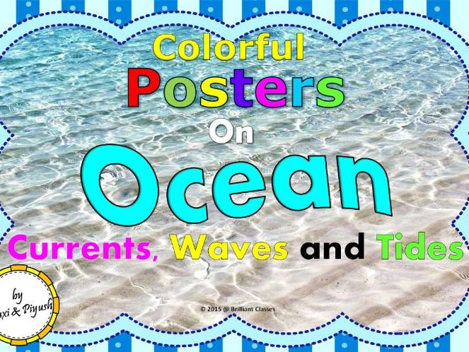 Ocean currents, waves and tides Colorful Posters for Classroom