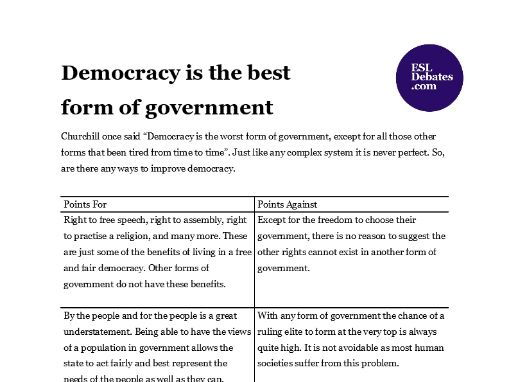 Debate Lesson Plan - Democracy is the best form of government