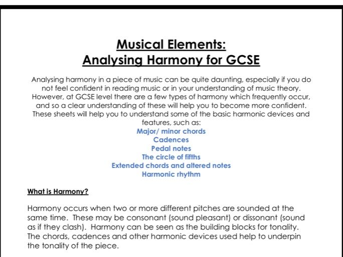 Analysing harmony for GCSE music