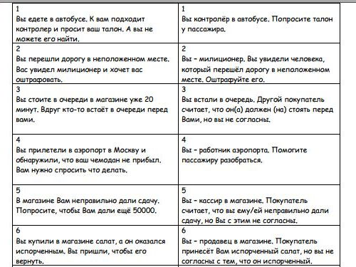 Being polite in Russian (11 Role-play cards)