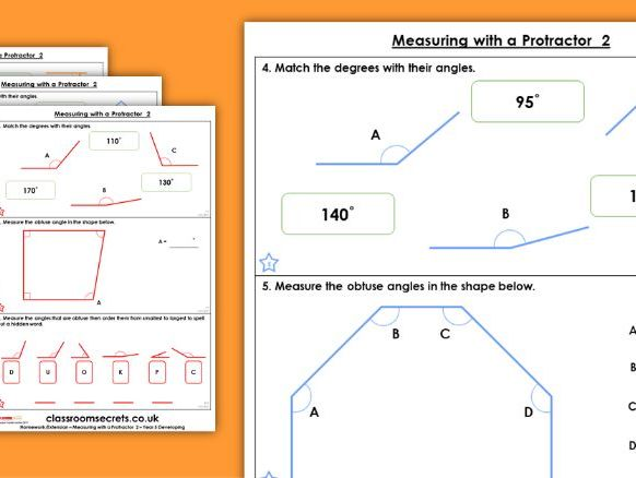 Year 5 Measuring with a Protractor 2 Summer Block 2 Maths Homework Extension
