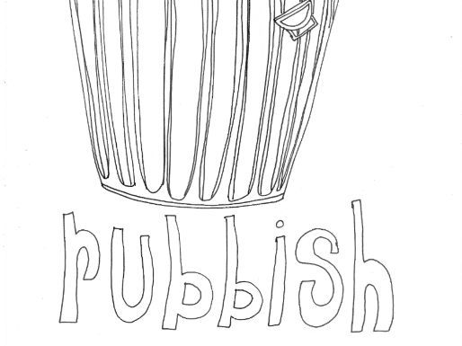 Rubbish :Recycling and Materials Colouring Page