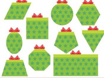 Gift Shapes Clipart, Present Shapes Clipart, 2D Shapes Christmas Clip Art