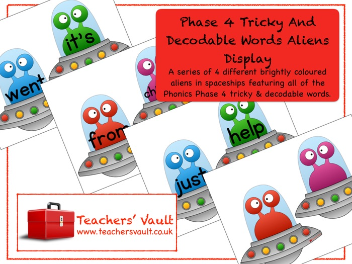 Phase 4 Tricky and Decodable Words Aliens Display